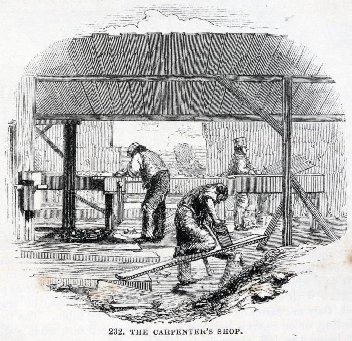 Black and white print of group of men working with various tools under timber roof.