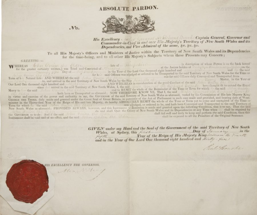Printed document with red seal to bottom left corner.