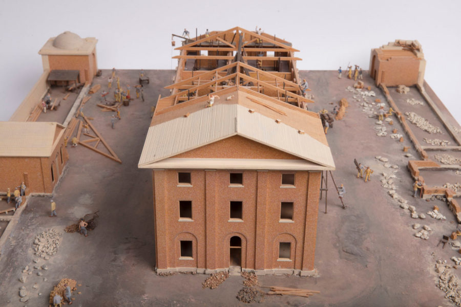 Model of barracks being built.