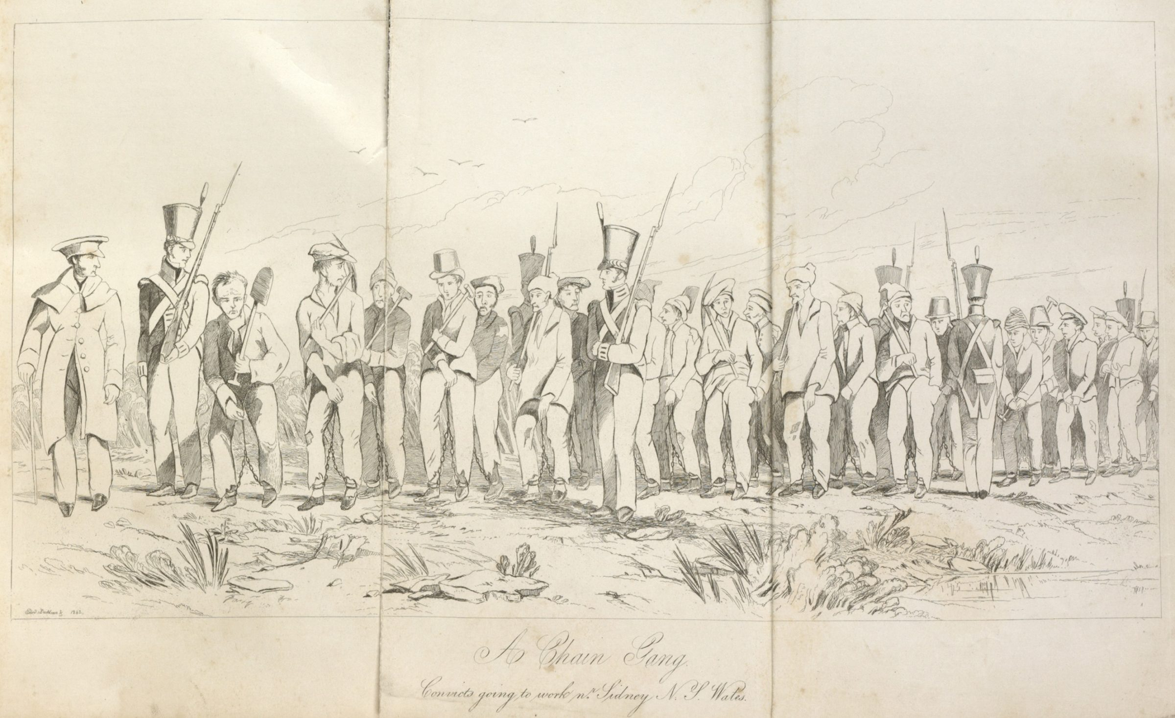 Convict men working in as part of an 'iron-gang'. Guarded by soldiers they are carrying the tools they need for the day's work. They are also wearing leg-chains.