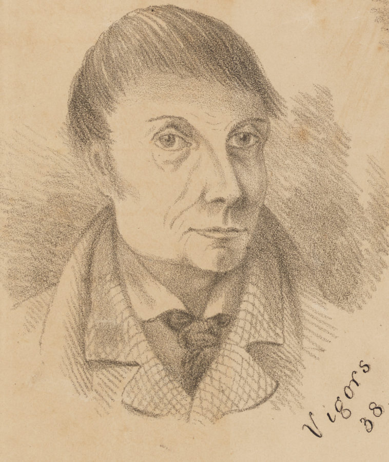Drawing of man's head and shoulders, wearing a high-collared jacket over a high-collared shirt and a knotted tie.