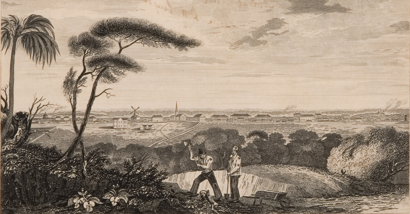 Etching of two men working in foreground of landscape, with bush backdrop and buildings in distance.