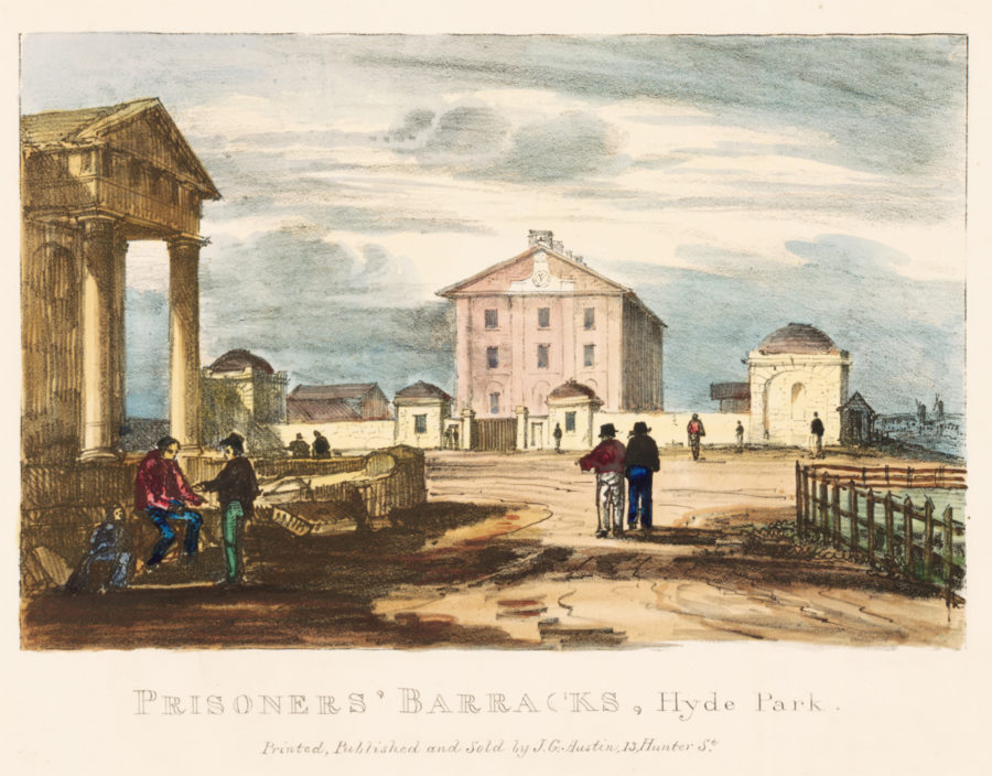 Depiction of the barracks from across the road, with figures in foreground.