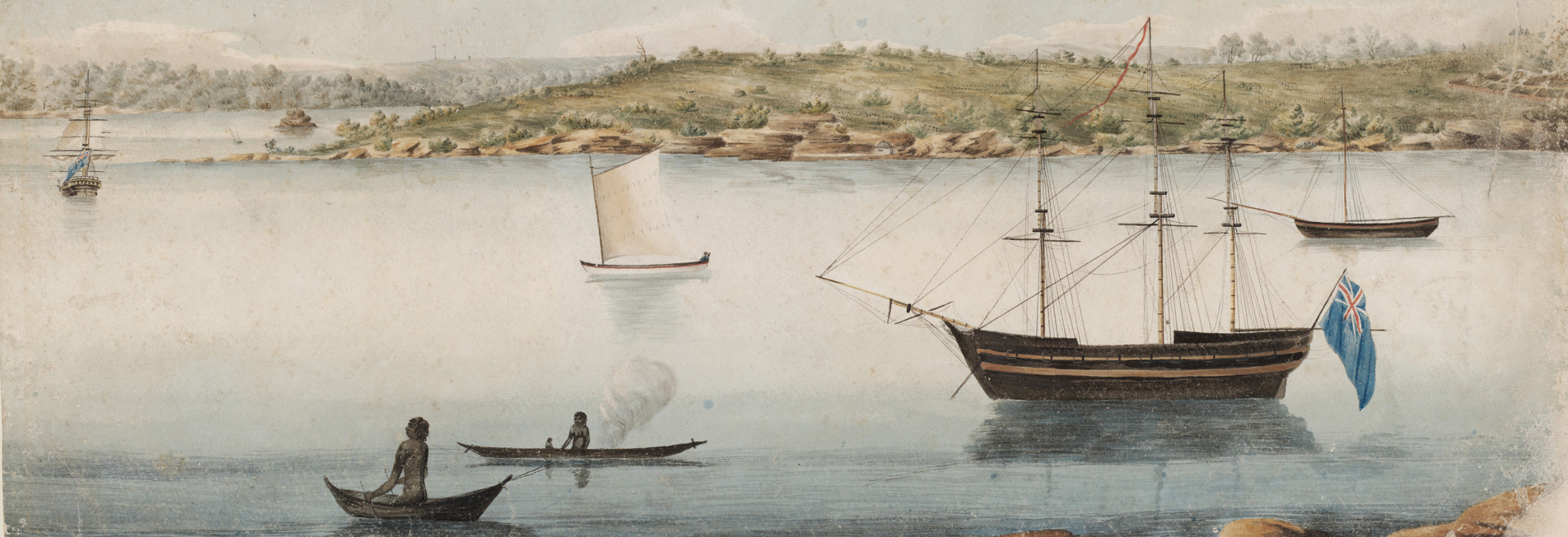 Boats on harbour with Aboriginal people in canoes.