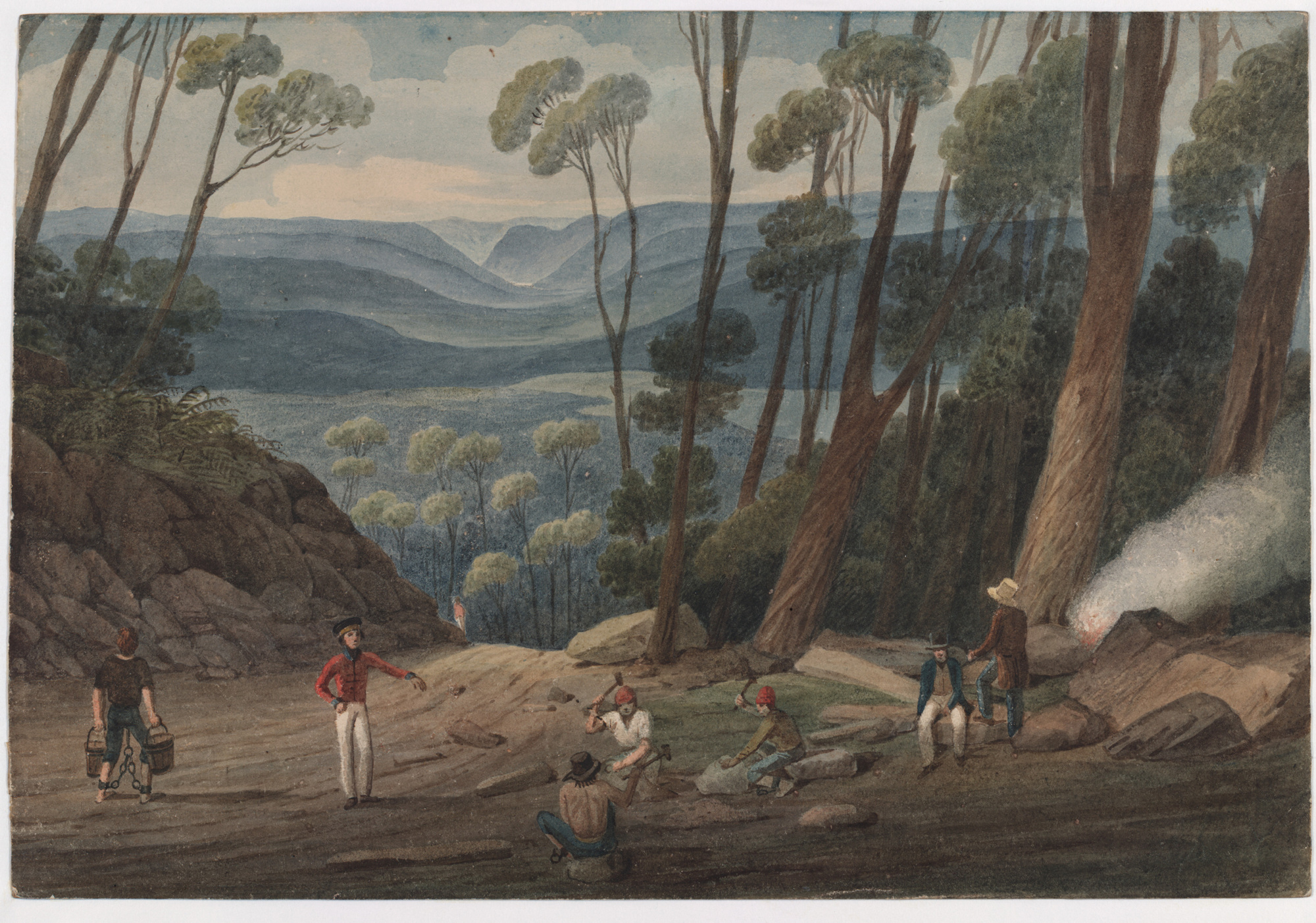 Watercolour painting of landscape with men in foreground working and view of distant valley and hills through trees, with smoke from fire to right.
