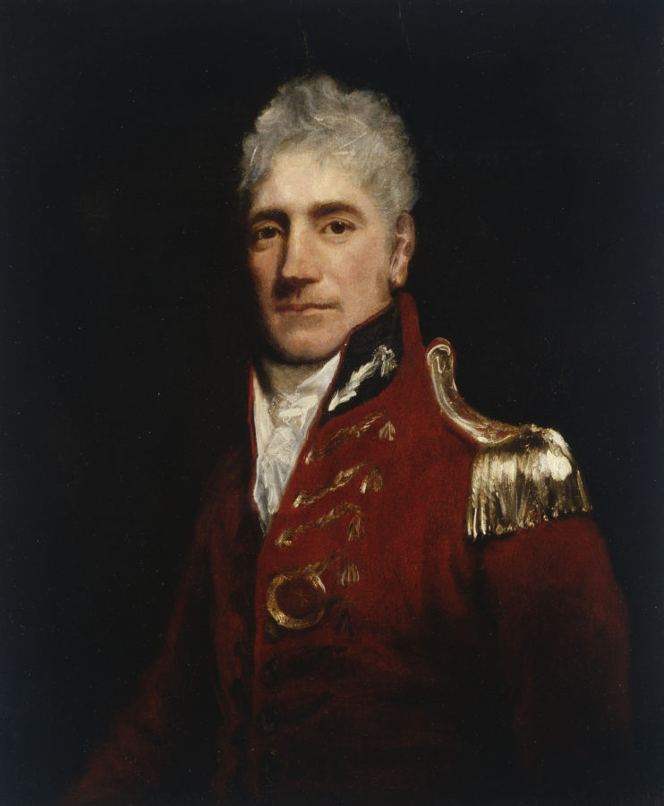 painting of grey haired man wearing military uniform with high collar and gold epaullets.