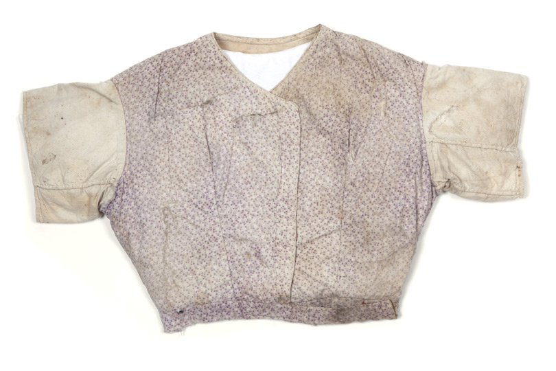 Bodice made from recycled fabric scraps, with 'HPA' Hyde Park Asylum laundry stamp.