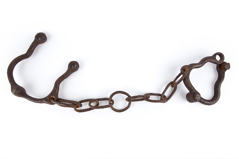 Metal shackles connected by linked chain.