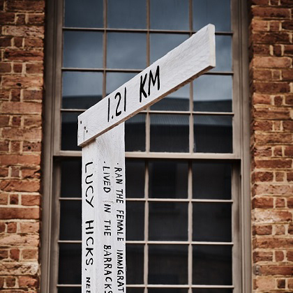 Signpost with names and distances in front of window of brick building
